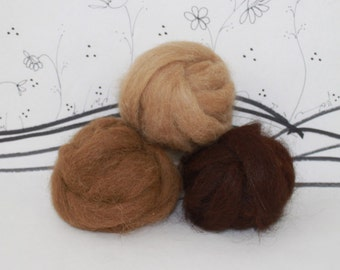 Wooly Bun Alpaca roving, needle felting or spinning, 1.5 ounces, felting supplies, brown color assortment
