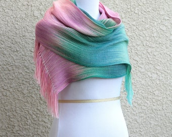 Ombre scarf, woven scarf, bridesmaids shawl, pashmina, women scarf in pink green mint extra long scarf with fringe gift for her