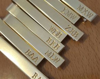 Personalized Mens Brass Tie Bar | Mens Tie Clip | Initials Monogram | Groomsman Gifts | Hand Stamped Gifts for Men | Groom Wedding Gift