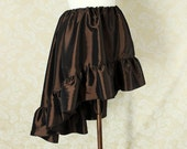 "Steampunk High Low Mini Cecilia Skirt -- Dark Chocolate Taffeta -- Ready to Ship -- Best Fits Up To 40"" Waist"