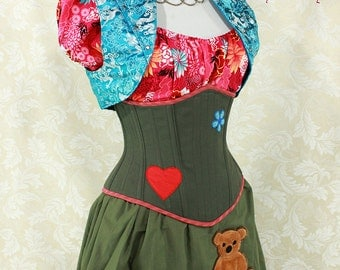 "Firefly Kaylee Inspired Olive Green Waspie Corset w/Heart & Flower Patches- Corset Size 36, Fits Waist 39""-41"" - Ready to Ship"