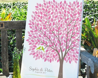 Modern Wedding Tree Guest Book Alternative, Unique Wedding Signature Tree, Personalized Love Birds Poster, 50-300 Guests, Canvas or Print