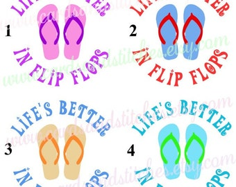 Flip Flops Decal - Life's Better in Flip Flops - Summer Decal - Vinyl Decal - Water Bottle Decal - Yeti Decal OR Iron-on - DIY Transfer