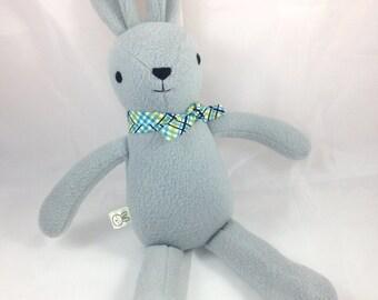 grey bunny rabbit stuffed animal - soft, washable, embroidered