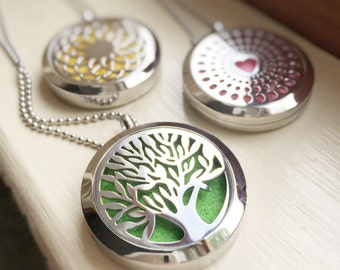 Essential Oil Diffuser Locket Necklace Aromatherapy Felt Pad Insert Pendant Silver Stainless Steel