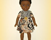 """Handmade Doll Clothes by traveller240, Fit 14.5"""" Dolls Such as American Girl Wellie Wishers, Tribal Print Short Sleeve Dress in Soft Neutral"""