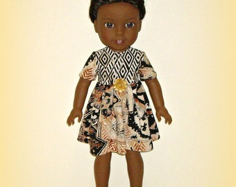 "Handmade Doll Clothes fit 14.5"" Dolls Such as American Girl Wellie Wishers, Tribal Print Short Sleeve Dress in Soft Cotton Knit Neutrals"