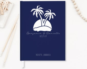 Nautical Wedding Guest Book Wedding Guestbook Beach Wedding Palm Trees Navy Guestbook Wedding Journal Custom Design Personalized Book GB-PT