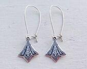 Dainty Silver Earrings/Boho Earrings/Bohemian Earrings/Art Deco Earrings/Everyday Earrings/Boho Chic/Long Silver Earrings/Gifts For Her