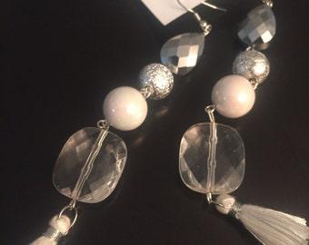 White Beaded Tassel Earrings