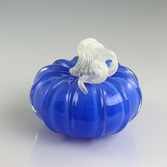 "4"" Glass Pumpkin by Jonathan Winfisky -Retro Opaque Electric Blue - Hand Blown Glass"