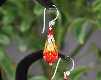 Beautifully colored lampwork flower earrings, sterling silver earrings, flower earrings, fall earrings