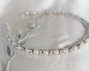 Silver Pearl Rhinestone Jewel Bridal Headband - Hair Jewelry