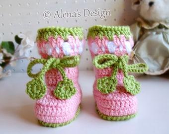 Crochet Pattern Blossom Baby Booties Cherries Booties Crochet Booties with Flower Slippers Baby Girl Baby Shower Gift Christmas Crochet