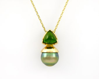 Green Chrome Diopside and Pearl Pendant set in 14K Gold Art Deco Style Necklace Fine Handmade Jewelry Black Green Pearl and Diopside