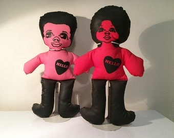 Rare Afrocentric MOD Cloth Dolls Vintage 1960s 1970s Stuffed Pillow Style Black Afro Hair Figures LOVE Hearts Hippie Home Decor Decorative