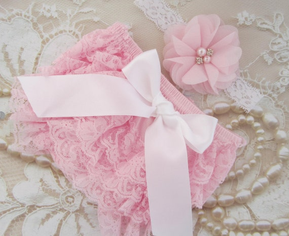 Pink Lace Diaper Cover Bloomers AND/OR Matching Sparkly Chiffon Flower Headband, newborn photos, baby pink lace, by Lil Miss Sweet Pea