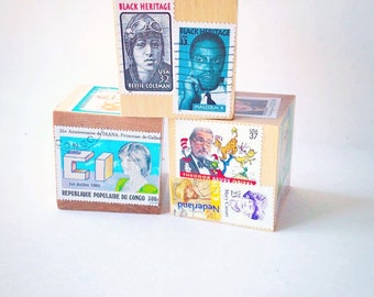 Children's stacking blocks. History Lover. Vintage postage stamp. Famous Faces. Jumbo Blocks. Upcycled. Stamp collector. Children. Baby toy.