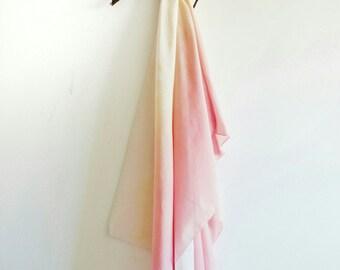 Silk Blend Scarf, Rose/Coral Ombre Scarf, Silk/Cotton blend scarf, Pink summer scarf, Rose Scarf, Coral Scarf