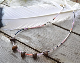 best friends necklace // pennant flag necklace // hand beaded coconut wood necklace