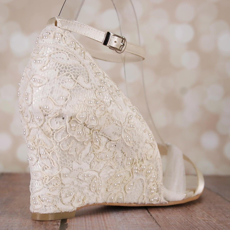 Wedding Wedge: Wedding Shoes Lace Wedding Wedges Ivory Lace Wedges Ivory
