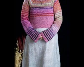 Cropped sweater shrug bolero, llama silk Noro yarn long sleeves handmade, size Small Medium