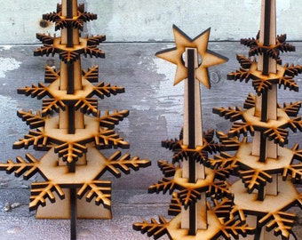 Wintree: a lasercut MDF Christmas tree, flat-packed to A4 for self-assembly