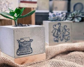 Concrete Planter- Typewriter, Desk, Writer, Wedding Gift, Housewarming Gift, Functional Art, Reclaimed Wood, Gift under 25