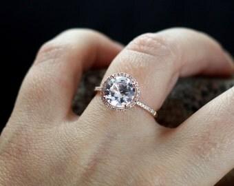 Forever Brilliant Moissanite Engagement Ring & Diamonds Halo Round Basket Pricus 3ct 9mm Custom White-Yellow-Rose Gold-10k-14k-18k-Platinum