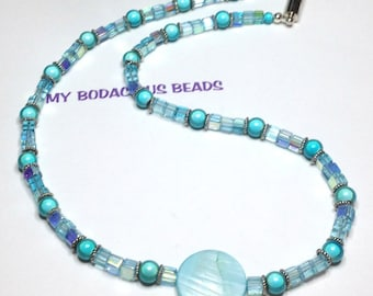 "Handmade 18"" SPARKLY TEAL NECKLACE Teal Iridescent Beads Mother Pearl Focal Silver Accents Magnetic Closure"