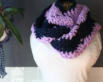 Crochet Infinity Scarf,Knit Inifinty Scarf,Cowl Scarf,Chunky Knit,Oversized Scarf,Neck Wrap,Loop Scarf,Mens Scarf,Womens Scarf,Purple,Blue