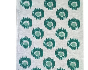 Forest and Sage green Ikat spot linen Tea Towel