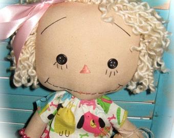 Raggedy Blonde Dog Lover Doll OOAK Handmade