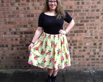 Lolly Likes Yellow Floral Midi Skirt
