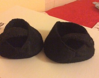 Black Mary Jane felt shoes for Teddy bears