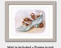 "Nursery Art Girl w/Mat (Beatrix Potter Nursery Decor, Childrens Room Wall Prints) Vintage Matted Print --- ""Mouse House"""