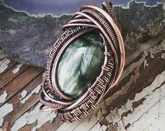 Seraphinite Copper Wire Handmade Pendant