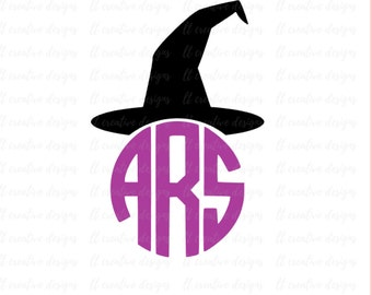 Witch Hat Monogram SVG, Witch Hat SVG, Halloween SVG, Monogram Toppers Svg, Eps, Png, Svg Files, Dxf, Silhouette, Cricut