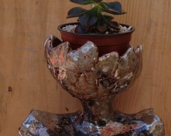 Gold and Black Toned Female Figure Garden Sculpture Ceramic Planter