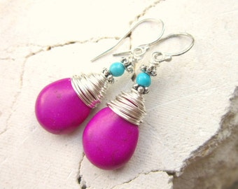 Wire Wrapped Purple and Turquoise Earrings. Purple Turquoise Howlite Dangle Earrings.Orchid Purple Earrings.Purple Jewelry.Turquoise Jewelry