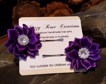 purple Flower Hair Pins, flower Bobby Pins, hair Accessories, flower Hair Pin, Cute Hair Accessories, purple floral Hair Pins, flower Bobby