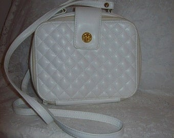 Vintage 1980s Ladies White Quilted Vinyl Cross Body Bag w/ Built in EVERYTHING NOS Only 7 USD