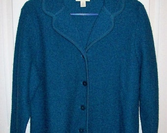 Vintage Ladies Blue Wool Cardigan Sweater by Appleseed's Medium Only 14 USD