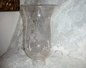 "Vintage Clear Glass Chimney Replacement Globe 6 3/4"" Tall Only 6 USD"