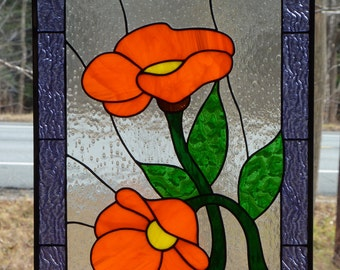 Custom Stained Glass Panel - Orange Flower