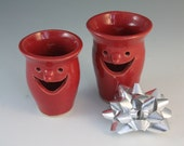 Pencil Holders - Red - Face jug - Q tip holders - set of 2