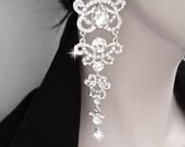 "Long,rhinestone chandelier earrings ~ Crystal statement earrings ~5""~ Sterling posts ~ Wedding jewelry - Brides statement earrings -ANGELINA"
