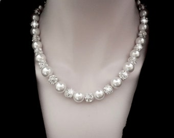 Chunky pearl necklace  ~ Brides necklace ~ Swarovski pearls and crystal rhinestone balls  ~ Statement, Wedding necklace ~ FABULOUS ~ LOLITA