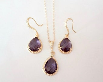 Amethyst necklace and earrings set - Czech glass ~ Gold filled chain - 14k Gold over Sterling ear wires - Bridal jewelry-February birthstone