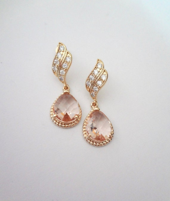 Gold earrings champagne bridal jewelry bridesmaids for Jewelry for champagne wedding dress